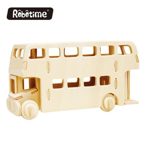 Robotime 3D wooden puzzle craft wooden vehicle puzzle JP238 London Bus