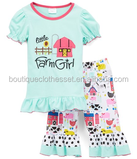 Farm Girl Wholesale Boutique Fancy Little Baby Outfits Ruffle