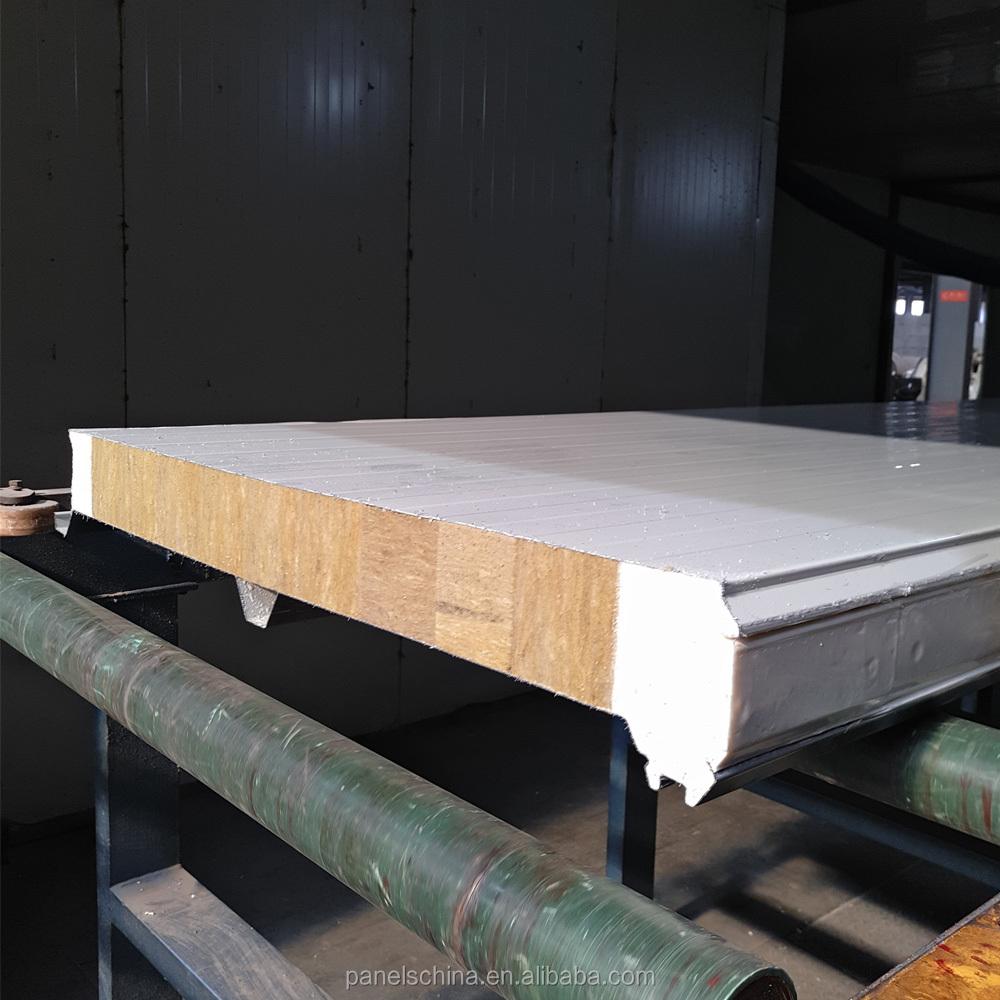 Rock Wool Wall Insulated Panels Aluminum Rockwool Sandwich Panel For Garage Storage Plants