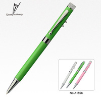 Pink green and white metal ball pen with led light for Business gifts