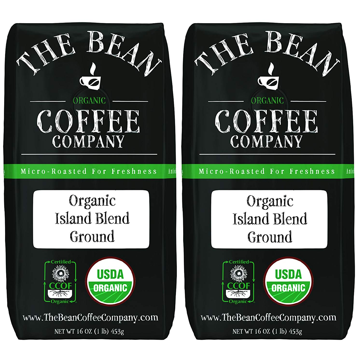 The Bean Coffee Company Organic Island Blend, Medium Roast, Ground, 16-Ounce Bags (Pack of 2)