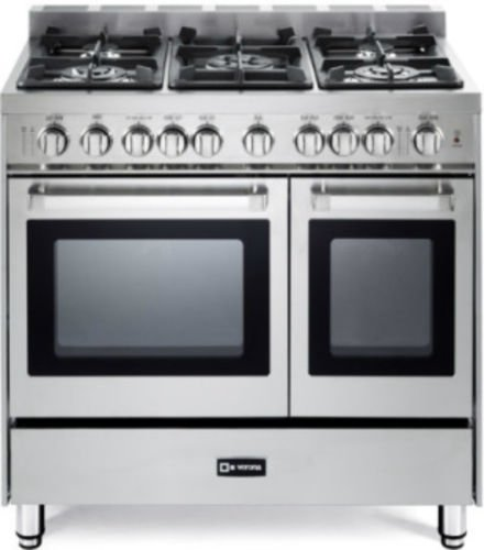"Verona VEFSGG365NDSS 36"" Pro-Style Gas Range with 5 Sealed Burners 2 Turbo-Electric Convection Ovens Manual Clean Infrared Broiler Bell Timer and Storage Drawer in Stainless Steel"