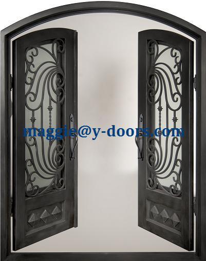 Sourcils arc top double porte d 39 entr e en fer forg porte acier porte principale mobile tremp for Porte entree fer forge verre