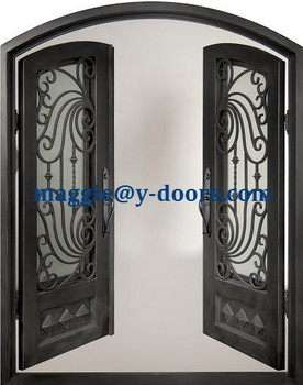 Eyebrow Arch Top Double Entry Door Wrought Iron Steel Main Operable Tempered Gl Panel