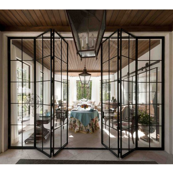 Luxury Living Room Folding Metal Glass Door Design View