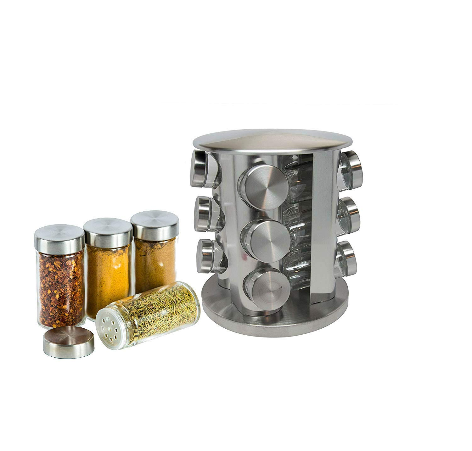 Xena 12 Piece Stainless Steel Rotating Spice Rack for Kitchen Storage, Home Organization, Spice Containers and Storage