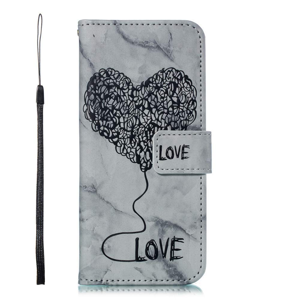 Ivy Galaxy S8 Wallet Cases [Marble Love Balloon] PU Leather Cover Wallet Phone Case for Samsung S8 - Black