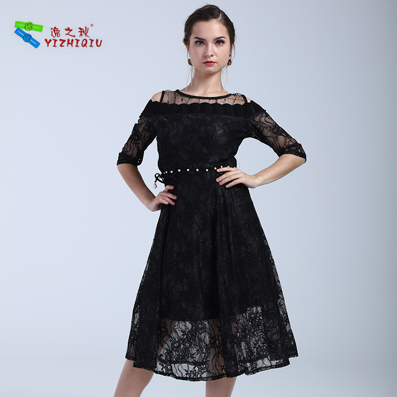 YIZHIQIU Transparent Off Shoulder Lace Bodycon Dress