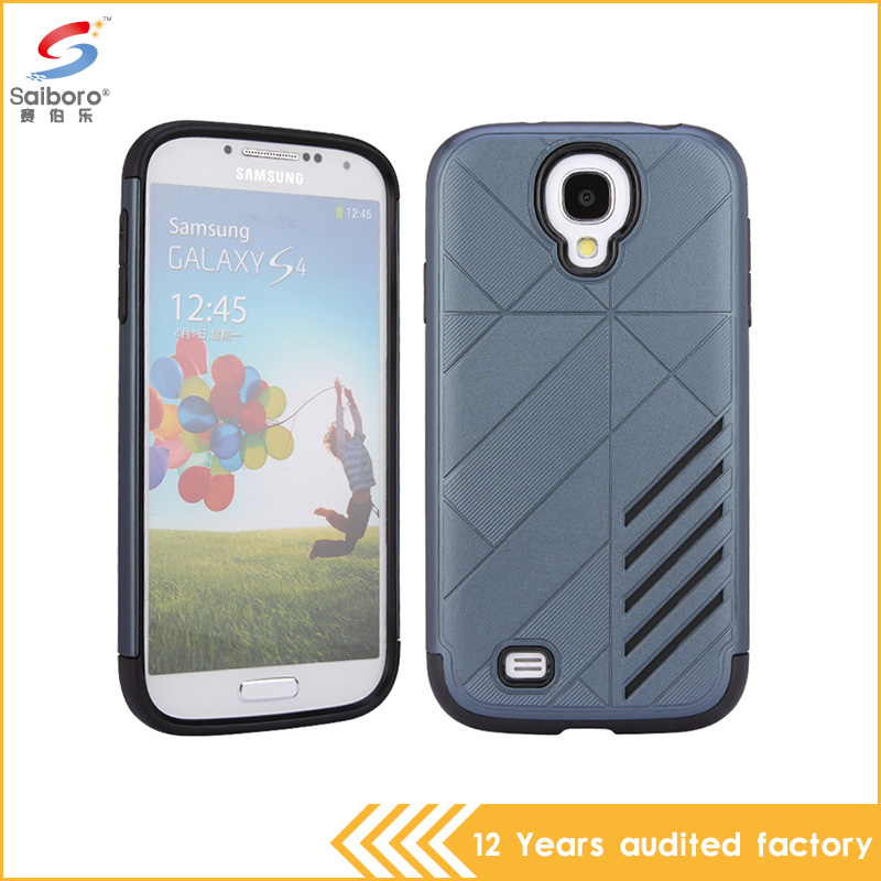 OEM service Factory price gray color tpu+pc armor shockproof phone cover for samsung galaxy s4