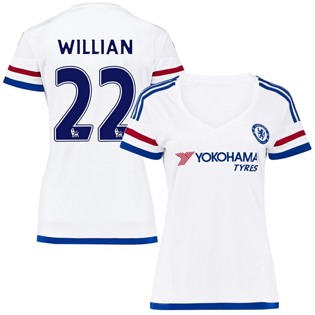 Get Quotations · FC Football Jersey Womens Chelsea  22 Willian Away Soccer  Jersey White L d78dc57c4