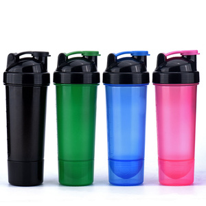2018 Hot Selling 700ml Wide Mouth 7 Colors LED Light Flash Plastic Juice Protein Powder Sports Shaker Water Bottle