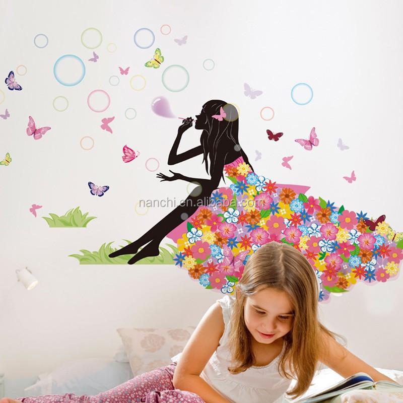 Bloem elf fiets meisje liefde muursticker romantische kamer woonkamer muurstickers tv - Kleur gemengde kamer ...