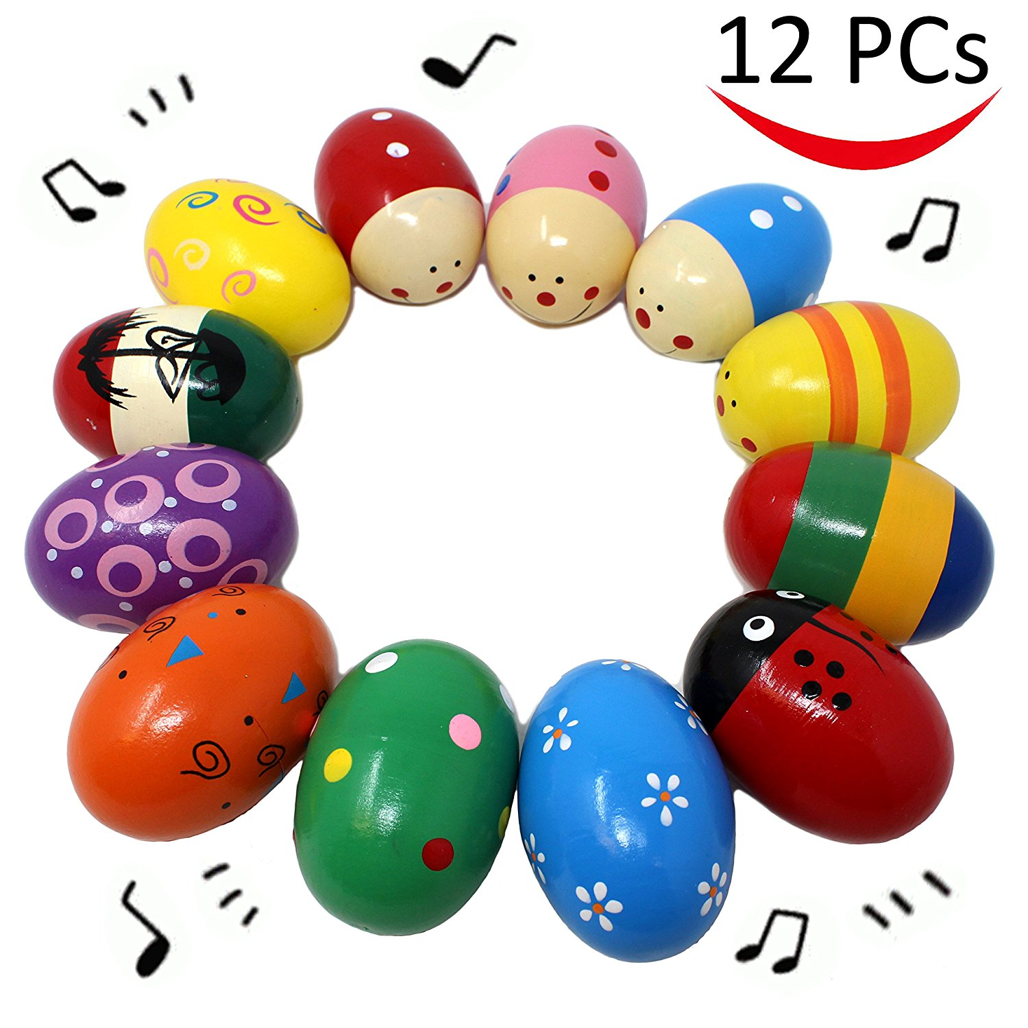 "12 Pieces 3"" Wooden Egg Shakers Maracas Percussion Musical for Party Favors, Classroom Prize Supplies, Musical Instrument, Basket Stuffers Fillers, Easter Hunt by JOYIN"