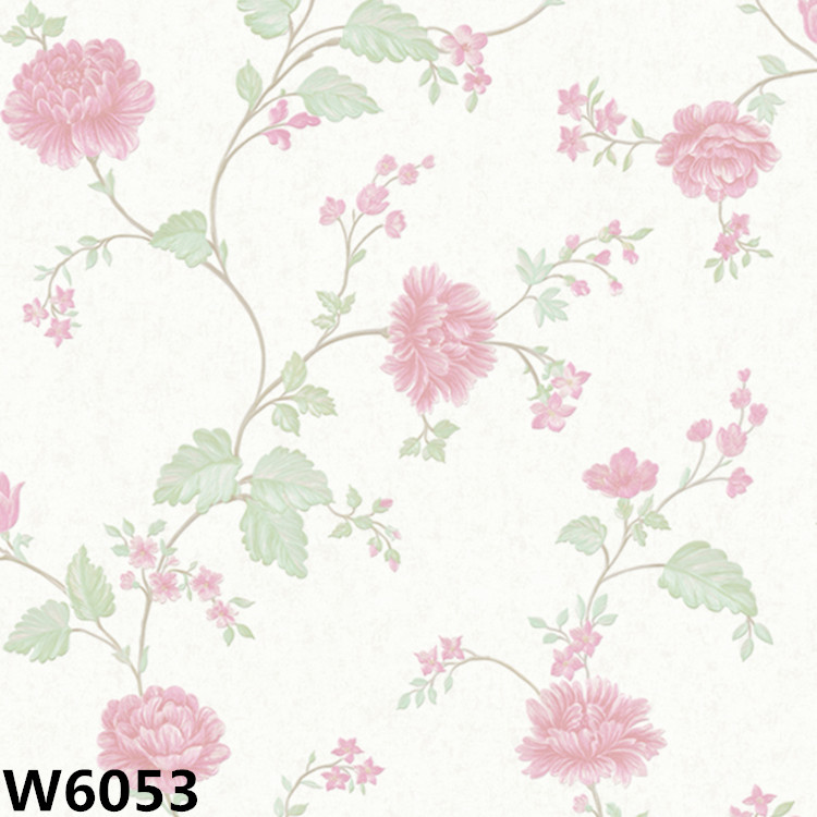 W6051-W6056 vlakte muur papier high definition elegante bloem behang voor kamer decor