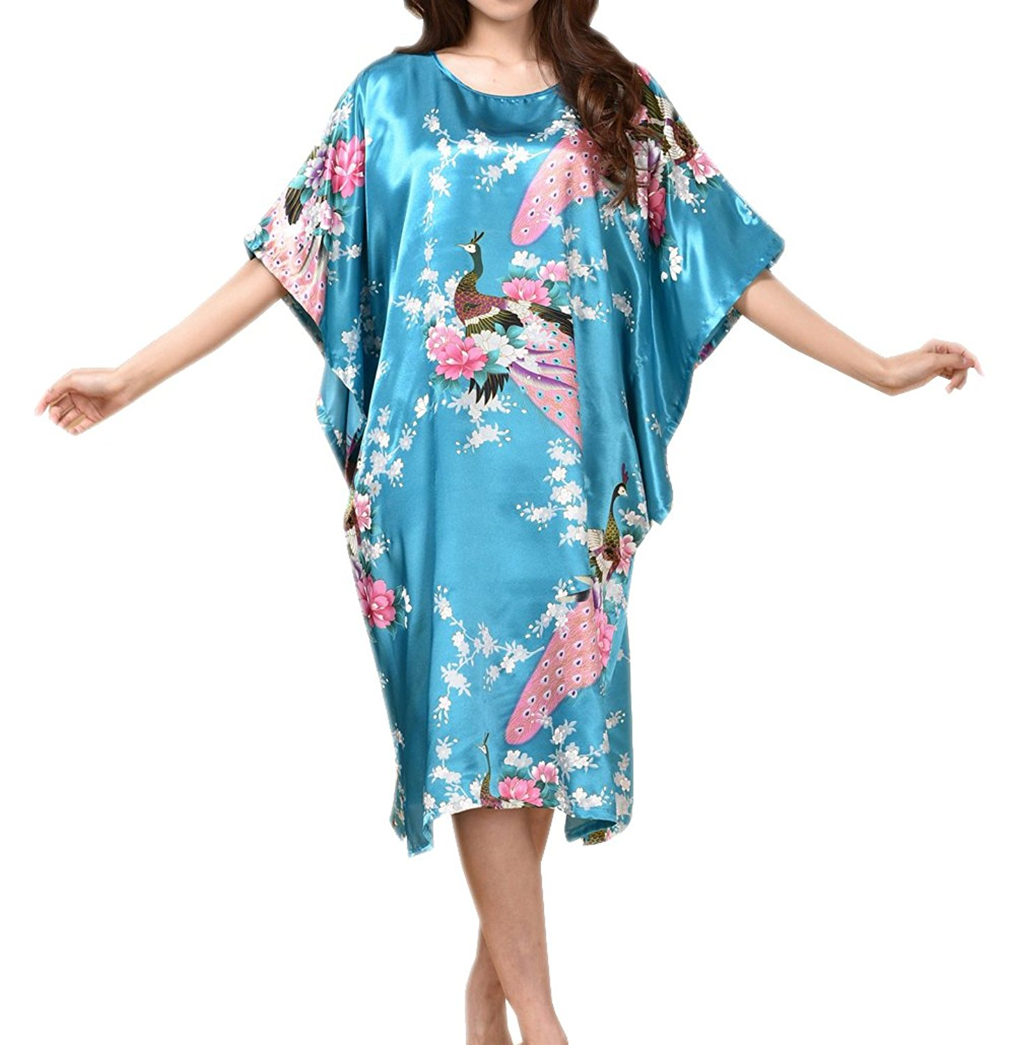 Get Quotations · SexyTown Women s Batwing Sleeve Pullover Nightgown Satin  Plus Size Pajamas f5bf384a9