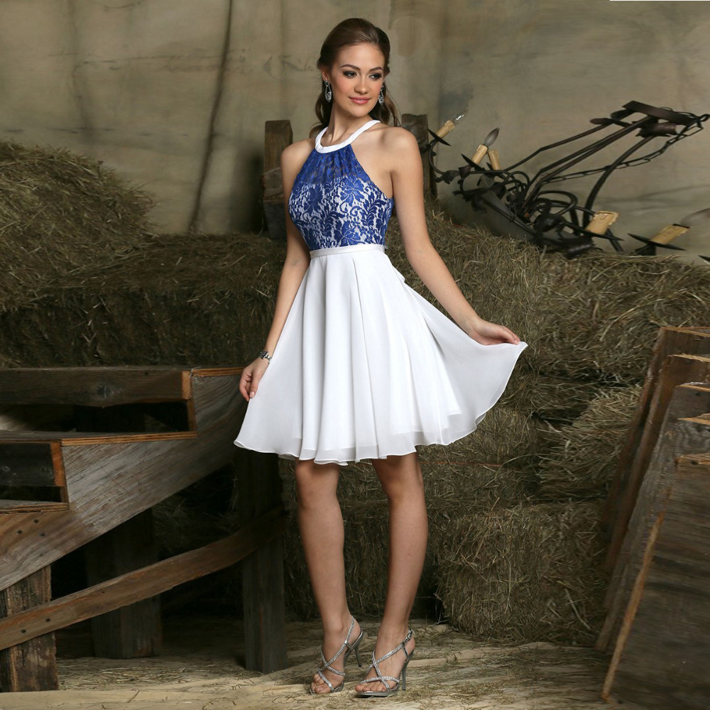Blue And White Elegant Short Party Dresses 2015 New A Line