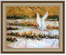 Swans fly knife painting thick oil painting