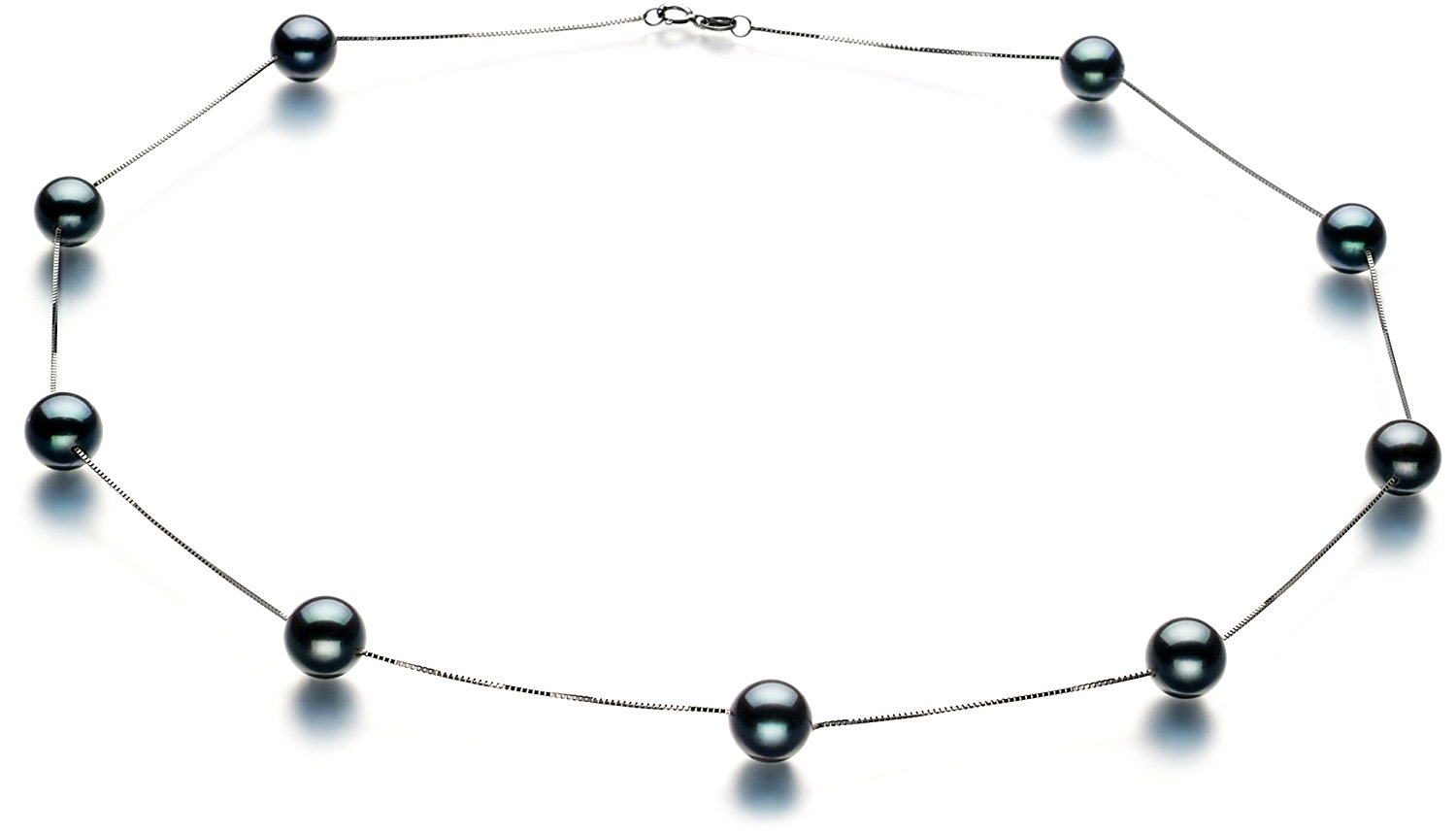 Tin Cup Black 7-8mm AAA Quality Japanese Akoya 14K White Gold Cultured Pearl Necklace-17.5 in length