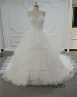 Elegant simple tulle ruffle skirt sweetheart alibaba new arrival Guangzhou bridal gown factory wedding dresses 2017