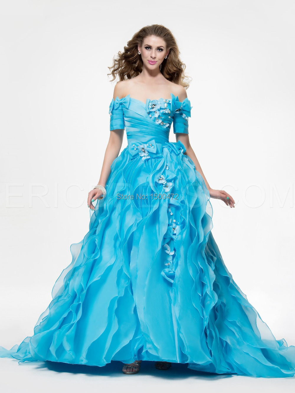 cf8c5465611 Get Quotations · Amazing Short Sleeves Bow knot Pearls Ball Gown Sweetheart  Quinceanera Dresses 2014 vestidos 15 anos Sweet