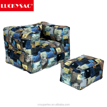 LUCKYSAC Factory Supply Print Pattern Bean Bag Chair With Armrest For Baby Adult