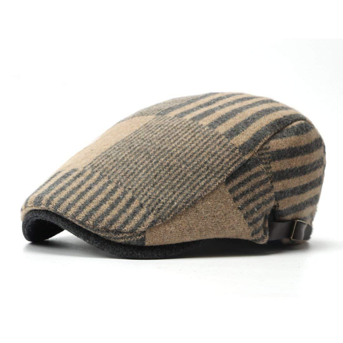 Get Quotations · WAZZIT Wool Blend Newsboy Cap Stripe Flat Cap Ivy Irish  Cabbie Caps Driver Beret Hats 4f05bbd7246c