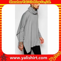 High quality plain design cheap oversized 100%cotton funnel neck long sleeve knit poncho jersey