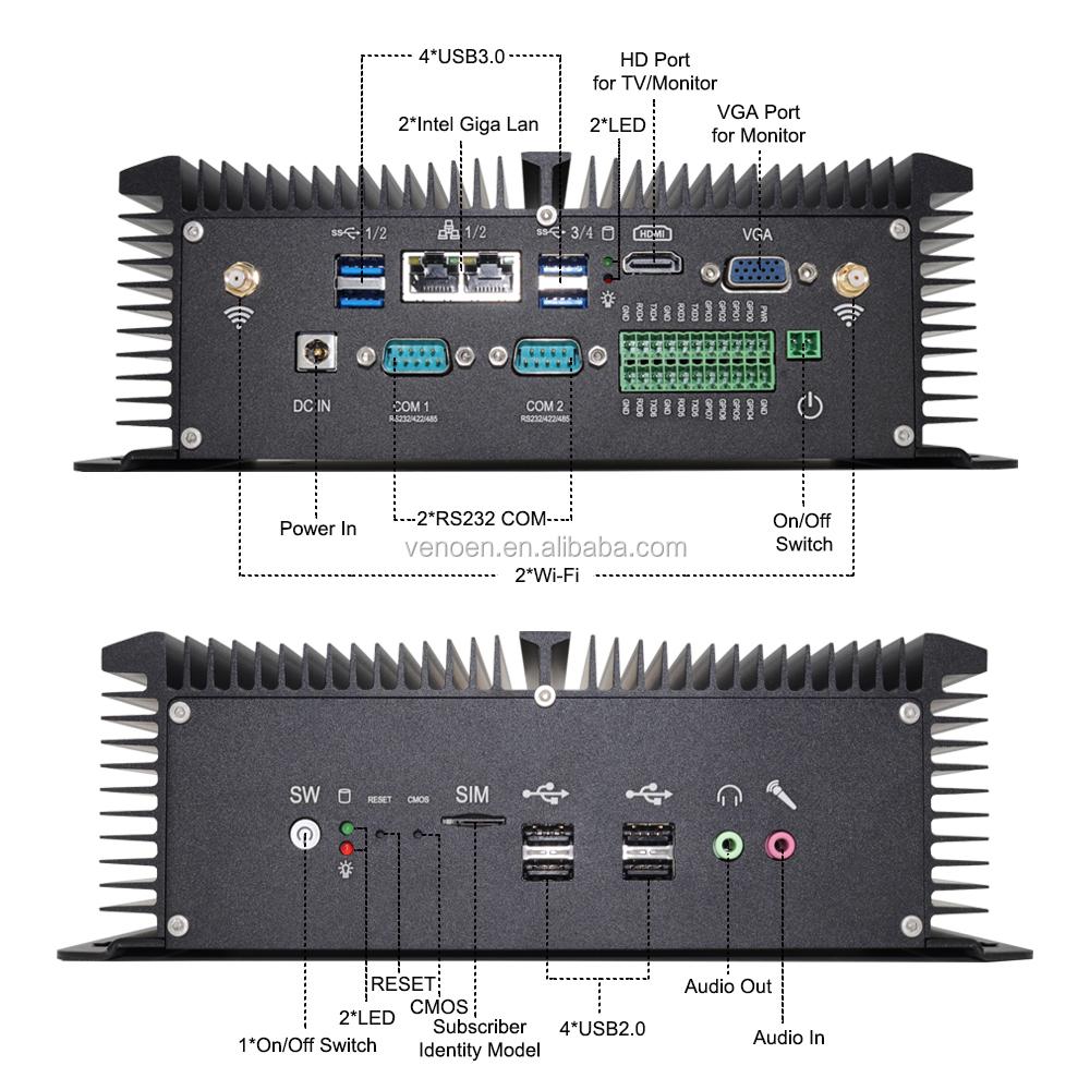 알루미늄 케이스 팬리스 1080P 비디오 데스크탑 컴퓨터 I5 8250U I7 8550U 팬리스 듀얼 Lan 미니 Pc Pci 슬롯