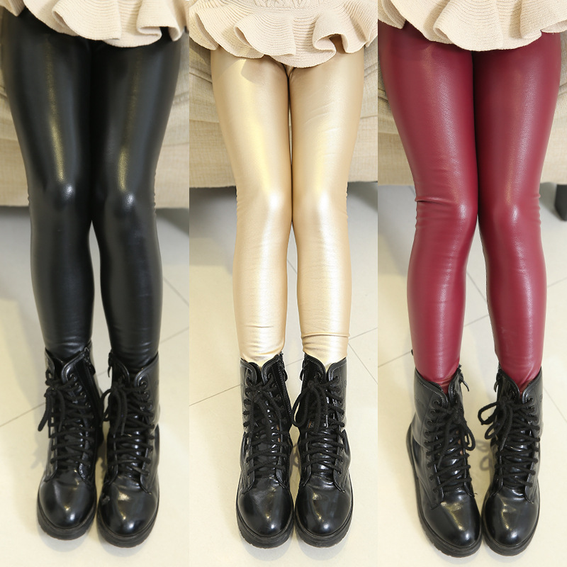 b1f57762289ea Latest design winter fashion modle pants slim elastic mature girls shiny  kids tights warm leather leggings