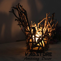 VADH12 2rustic themed real tree branches candle holder real wood branch candle holer amazing decor