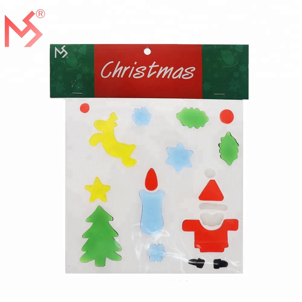 Cheap tpr material snow jelly window gel stickers for christmas sales