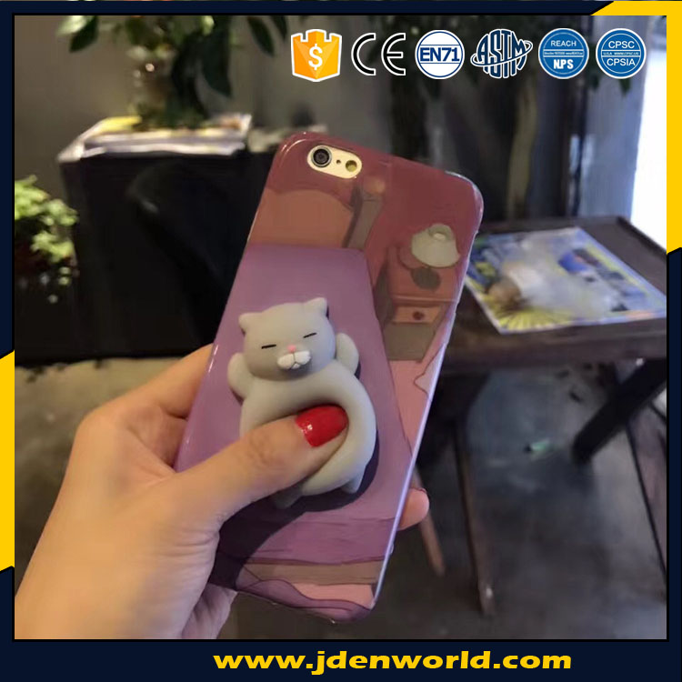 Silicon cat casing pu foam plastic slow rising squishy for phone