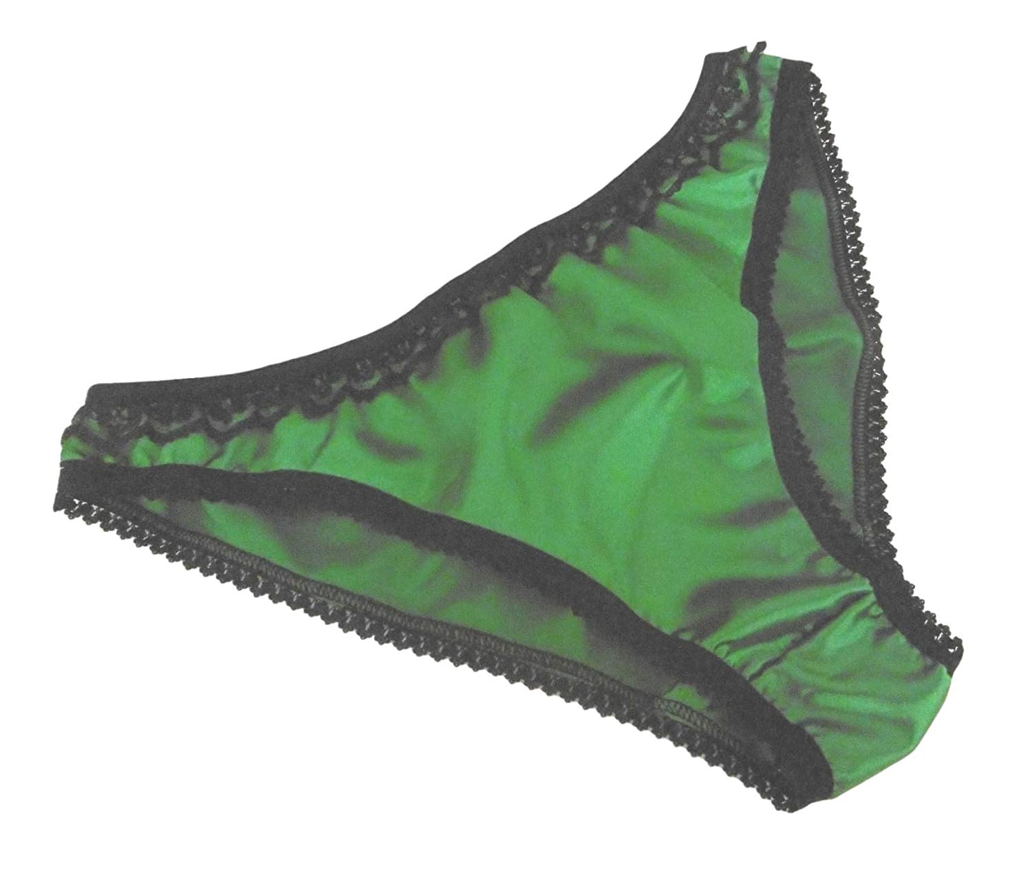 7c62d9fc74d Get Quotations · Shiny Satin Low Rise Bikini Brief Panties Emerald Green  with Black Lace 6 Sizes Made in