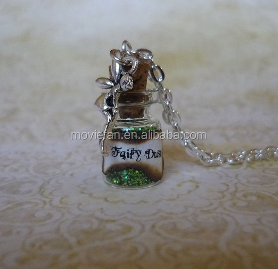 Green Fairy Dust Necklace Fairy dust Pixie Dust Fantasy Jewelry Fairy Charm Glass Bottle Pendant silver tone