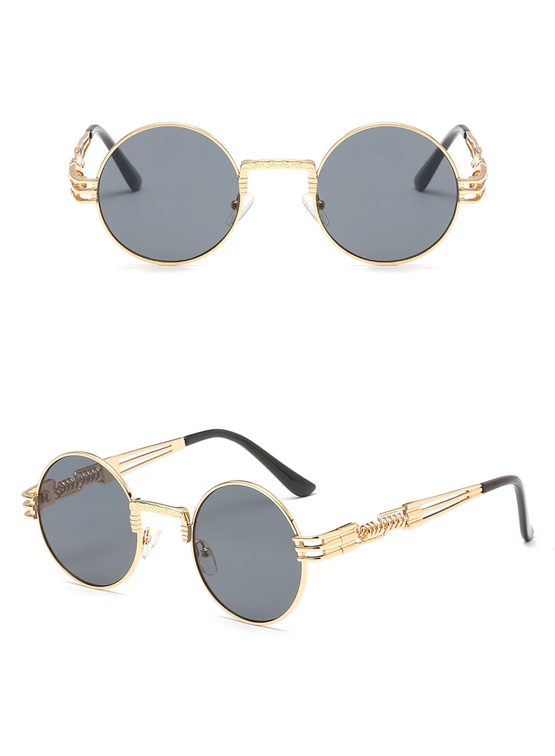 UV400 OEM Trendy PC Metal Spring Temple Anti Glare Shades Men Gold Round Frame HD Polarized Steampunk Man Sunglasses 2019