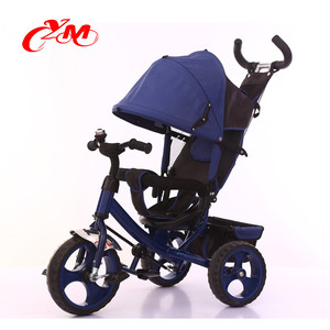 Top selling 3 wheels children push along trikes/OEM 4 in 1 function cheap kids tricycle/smart children tricycle gold baby