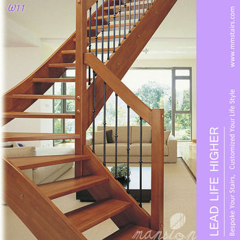 Open Riser Wood Stairs With Iron Spindle Railings