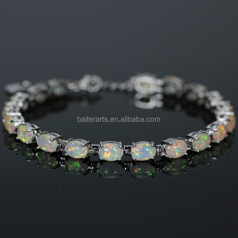 Shinny Plated 925 Sterling Silver Adjustable Synthetic White Fire Opal Tennis Bracelet wholesale