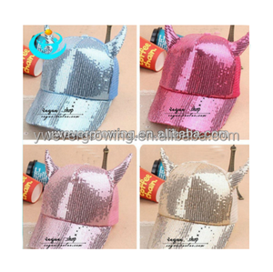fashion horn funny girls sequined baseball caps