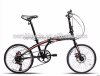 China made 16 inch hi-ten material single speed colorful tire folding bike