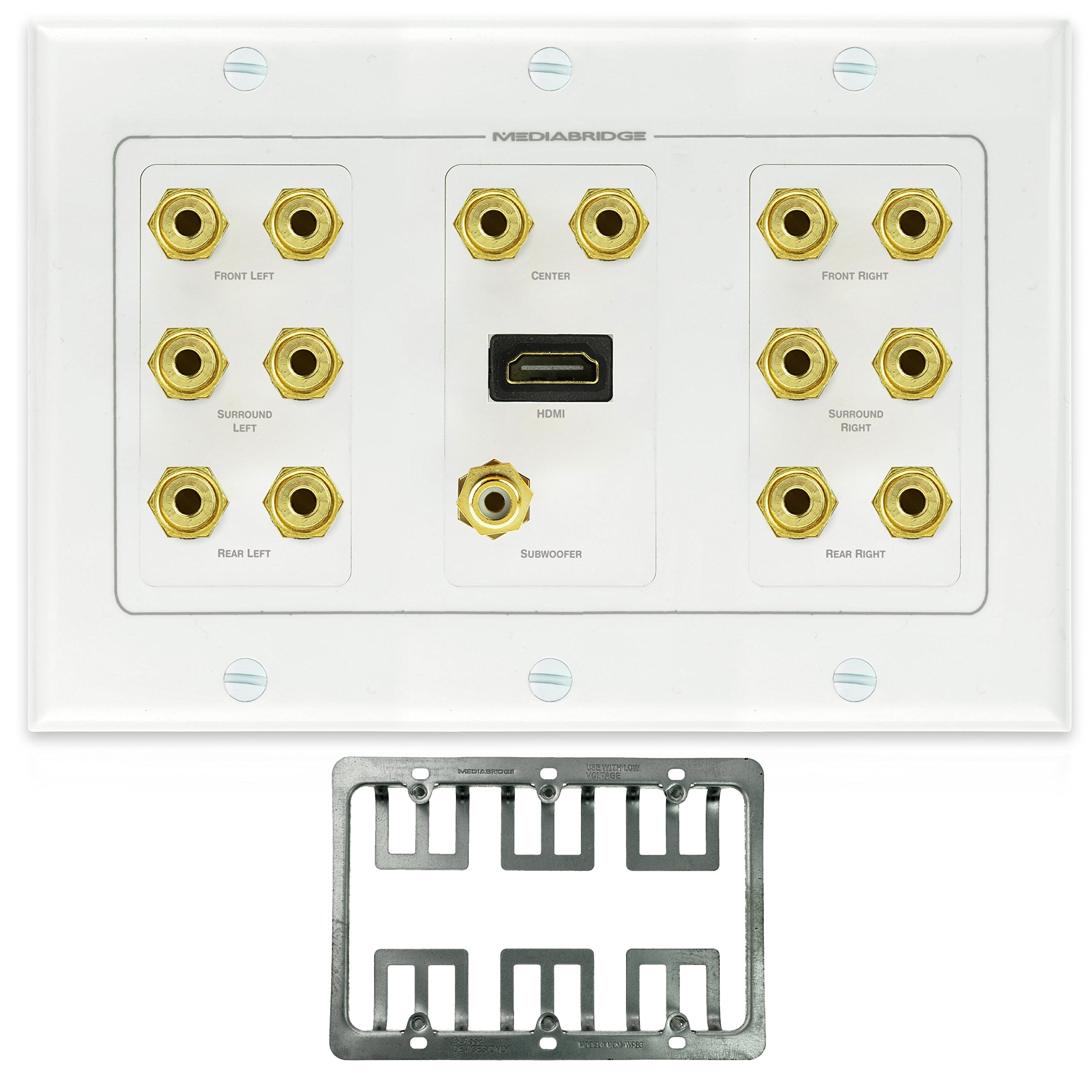 Mediabridge Home Theater Wall Plate w/ Binding Posts (7 Pair), RCA (1 Port) & HDMI (1 Port) - LIMITED TIME OFFER: FREE Mounting Bracket (3-Gang) - 2-Piece Inset Wall Plate (Part# WP3-B7/S1/HDMI1 )