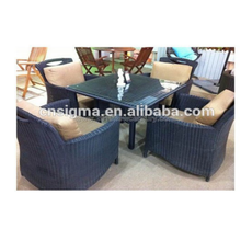 Outdoor furniture customized all weather comfortable wicker glass dining tables