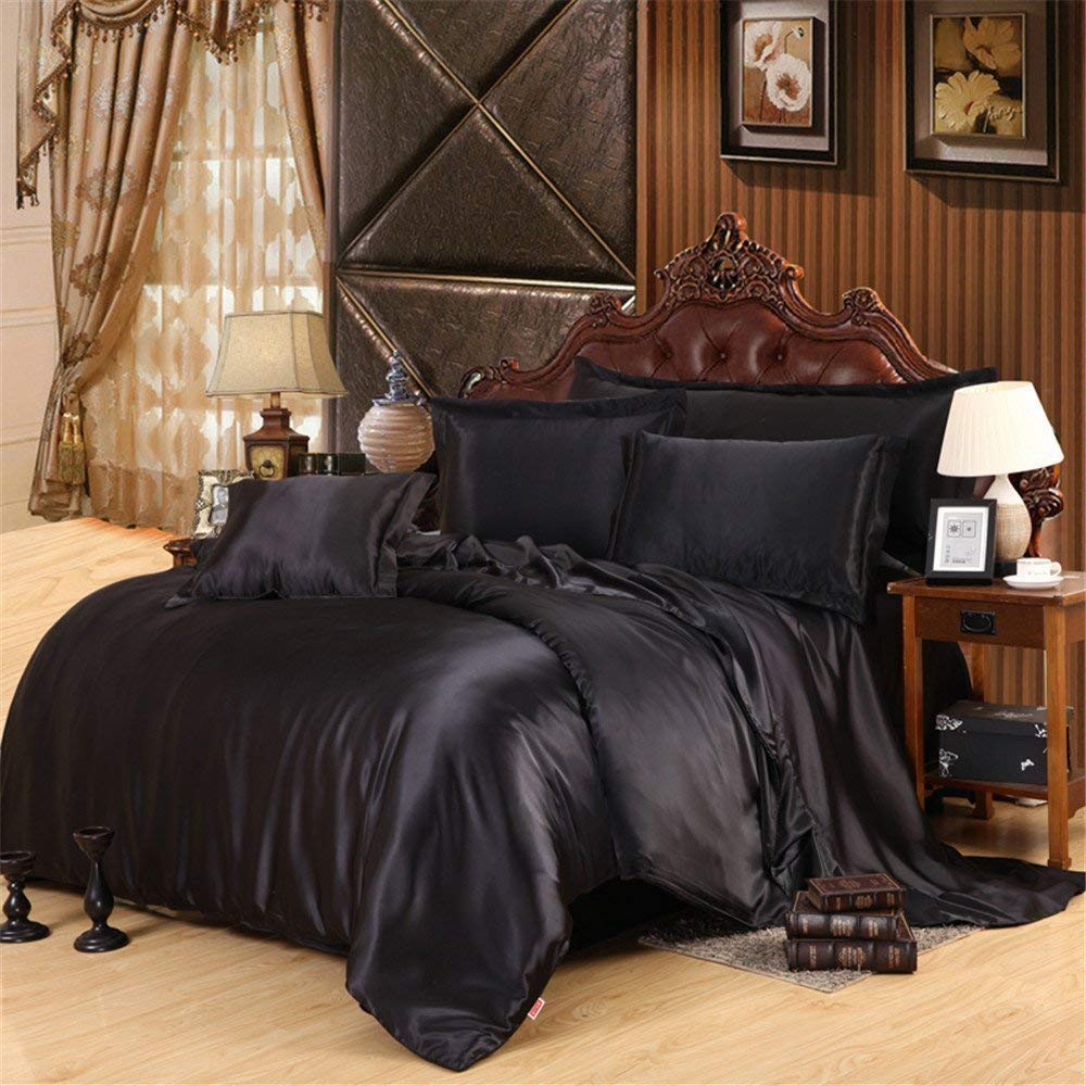 American Classic Bedding's Luxury Solid Color 6-Piece Satin Bed Sheets Set - Silky Smooth, Super Soft, Wrinkle Resistant Sheets and Pillowcases !! King, Black