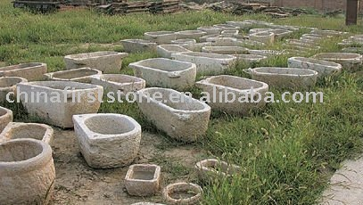 Barato antiguo grande piedra cuencos para jard n maceteros for Macetas de piedra para jardin