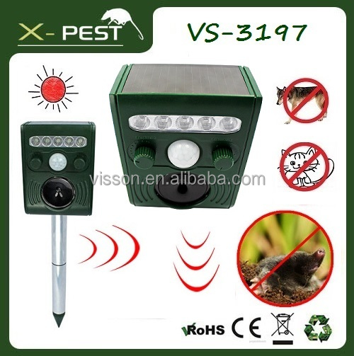X-pest VS-3197 Yard Sentinel Solar Powered Battery Operated Ultrasonic Cat and Pest Repeller with Motion Detector