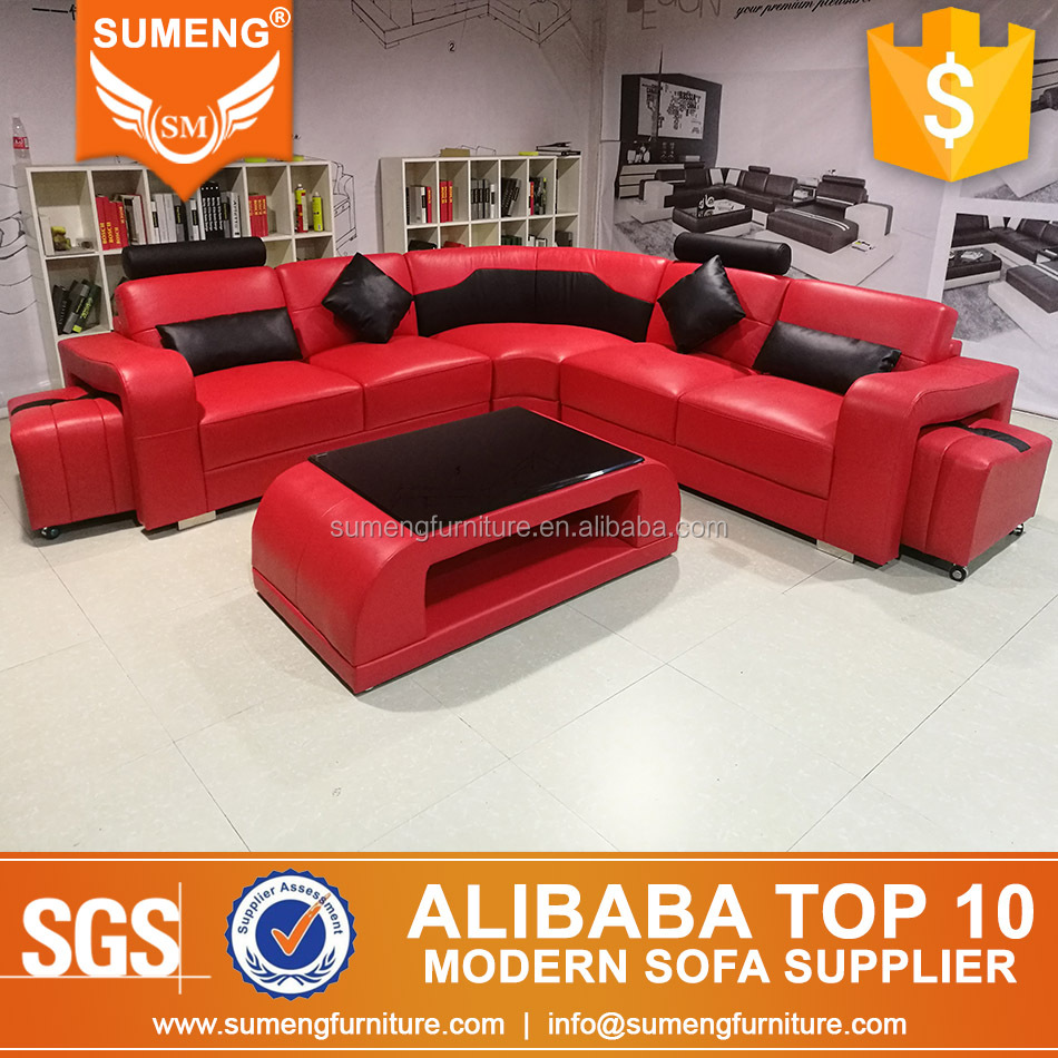 China furniture factory modern foshan red with black leather sectional sofa