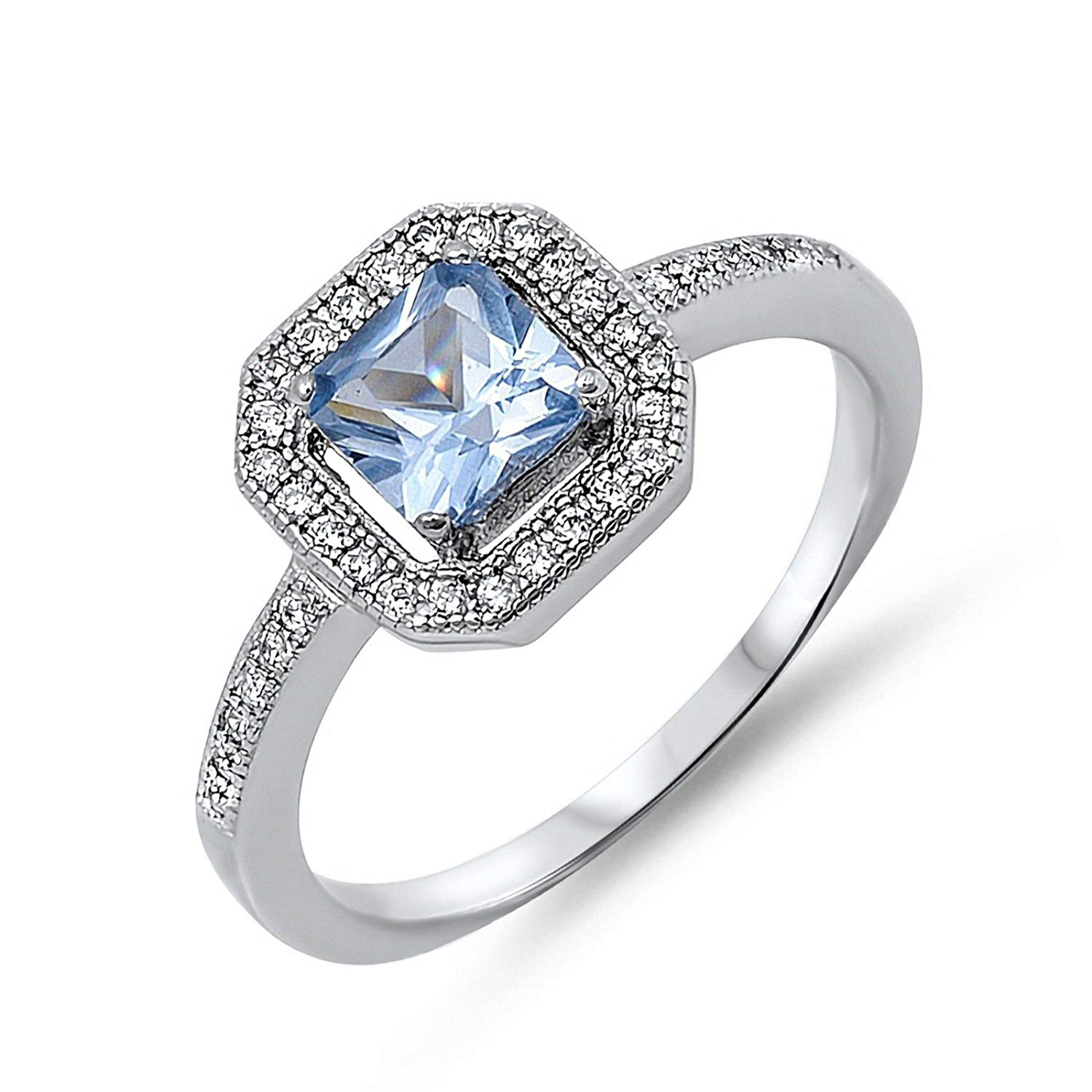 40e023518 Get Quotations · Princess Cut Embraced Simulated Aquamarine March CZ Womens  925 Sterling Silver Ring Sizes 5-10