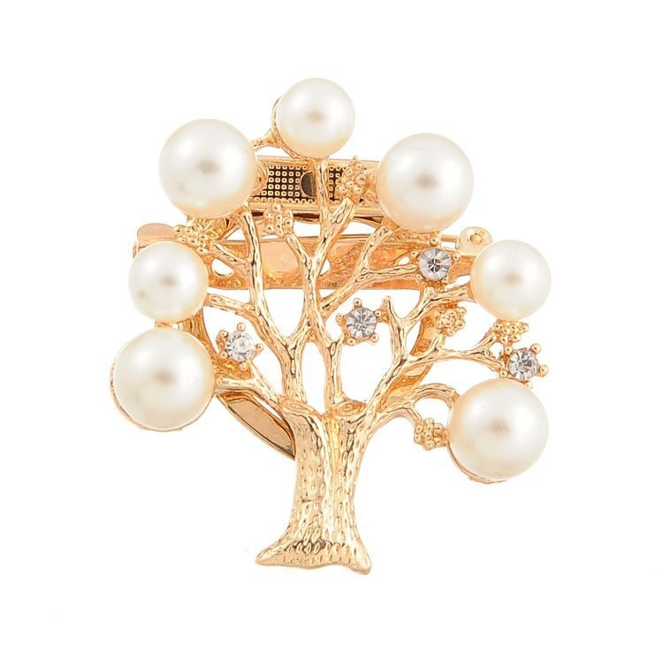 Korean Fashion Christmas Tree Imitation Pearl Brooch Antiqued Life Tree Crystal Brooches Shawl Scarves Scarf Buckle for Women
