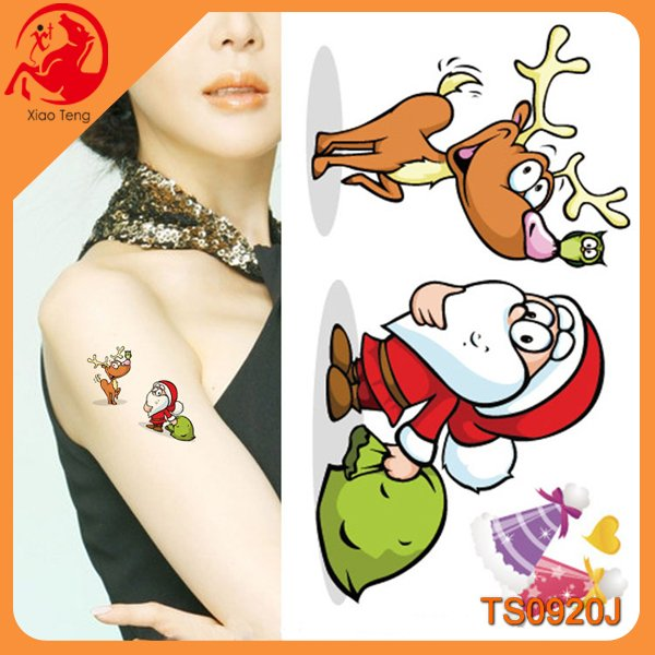 Tattoo Sticker Type and Temporary,screen & offset printing on inject printer Feature Christmas gift tattoo