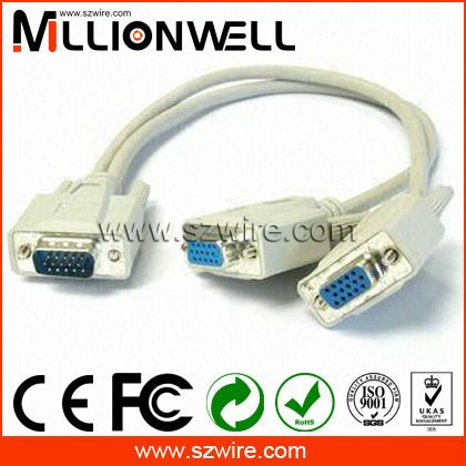 CABLE OF Male VGA to 2 Dual VGA Cable 1 PCS to 2 VGA SVGA Monitor Splitter Cable White